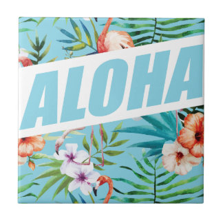 Wellcoda Aloha Summer Flamingo Holiday Ceramic Tile