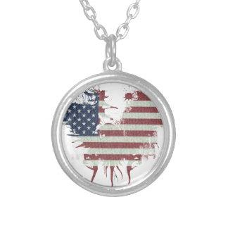 Wellcoda American Eagle Flag USA Identity Round Pendant Necklace