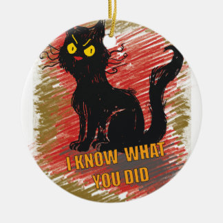 Wellcoda Angry Black Cat Meow Grumpy Pet Ceramic Ornament