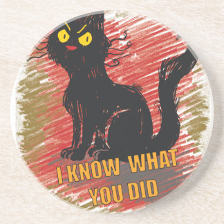 Wellcoda Angry Black Cat Meow Grumpy Pet Coaster