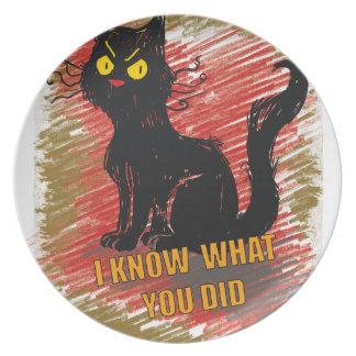 Wellcoda Angry Black Cat Meow Grumpy Pet Melamine Plate