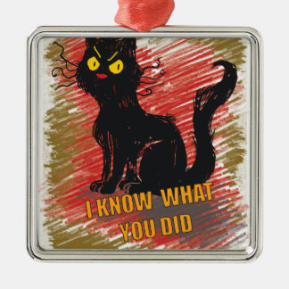 Wellcoda Angry Black Cat Meow Grumpy Pet Metal Ornament