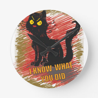 Wellcoda Angry Black Cat Meow Grumpy Pet Round Clock