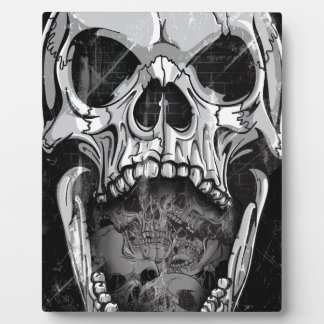 Wellcoda Angry Skull Reaper Skeleton Bone Plaque