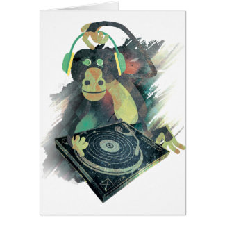 Wellcoda Animal Monkey Music DJ Disco Pop Card