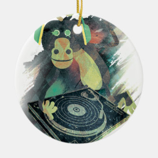Wellcoda Animal Monkey Music DJ Disco Pop Ceramic Ornament
