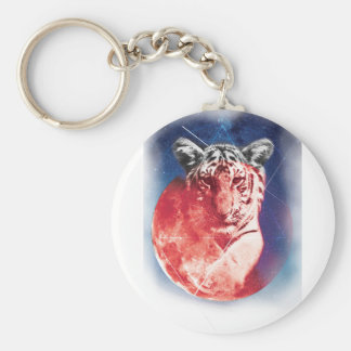 Wellcoda Animal Tiger Universe Galaxy Cat Keychain