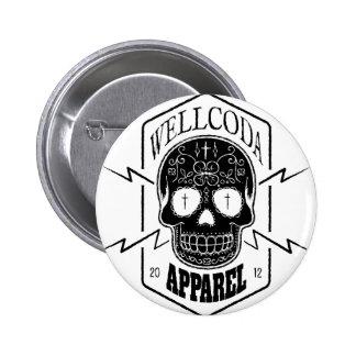 Wellcoda Apparel Candy Skull Aztec Style Button