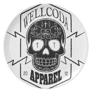 Wellcoda Apparel Candy Skull Aztec Style Melamine Plate