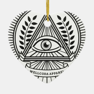 Wellcoda Apparel Illuminati Conspiracy Double-Sided Heart Ceramic Christmas Ornament