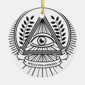 Wellcoda Apparel Illuminati Conspiracy Double-Sided Ceramic Round Christmas Ornament