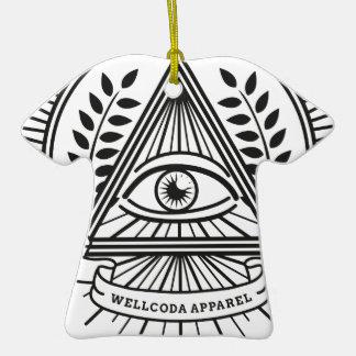 Wellcoda Apparel Illuminati Conspiracy Double-Sided T-Shirt Ceramic Christmas Ornament