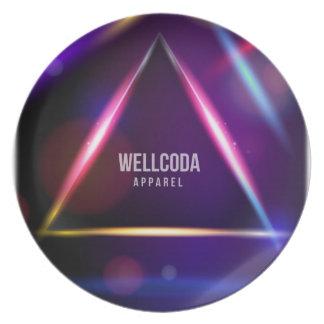 Wellcoda Apparel Solar System Star Colour Dinner Plate