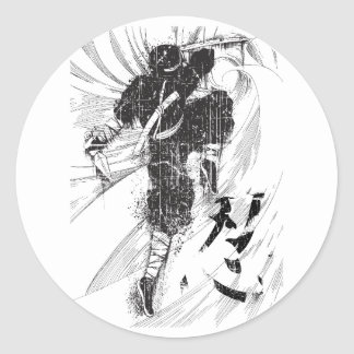 Wellcoda Asian Ninja Warrior Battle Kick Classic Round Sticker
