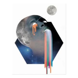 Wellcoda Bald Head Moon Skull Galaxy Face Postcard