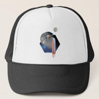 Wellcoda Bald Head Moon Skull Galaxy Face Trucker Hat