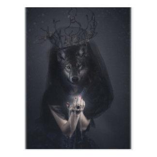 Wellcoda Big Bad Wolf Woman Evil Queen Postcard