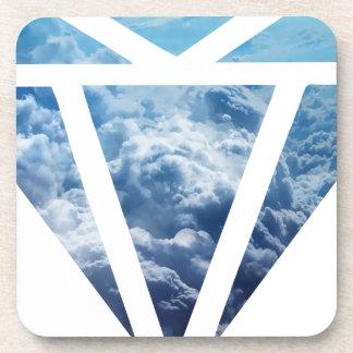 Wellcoda Blue Diamond Sky Cloud Jewel Love Coaster