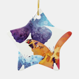 Wellcoda Butterfly Nature Love Beauty Life Double-Sided Star Ceramic Christmas Ornament