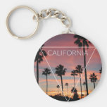 Wellcoda California Palm Beach Sun Spring Basic Round Button Keychain