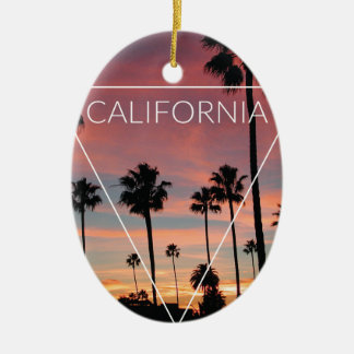 Wellcoda California Palm Beach Sun Spring Ceramic Ornament