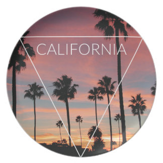 Wellcoda California Palm Beach Sun Spring Melamine Plate