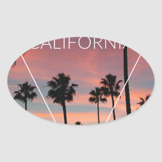 Wellcoda California Palm Beach Sun Spring Oval Sticker