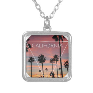 Wellcoda California Palm Beach Sun Spring Square Pendant Necklace