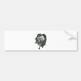 Wellcoda Candy Skull Rose Bed Scary Face Bumper Sticker