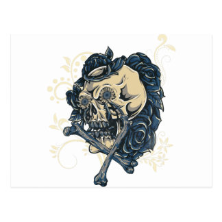 Wellcoda Candy Skull Rose Bed Scary Face Postcard