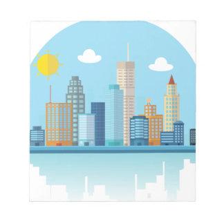 Wellcoda Cartoon City Sky Line Happy Town Notepad