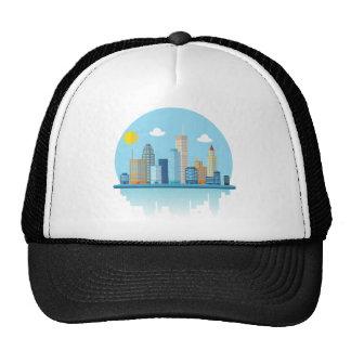Wellcoda Cartoon City Sky Line Happy Town Trucker Hat