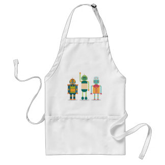 Wellcoda Cartoon Robot Heroes Future Life Adult Apron