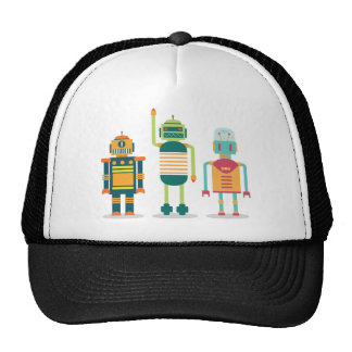 Wellcoda Cartoon Robot Heroes Future Life Trucker Hat