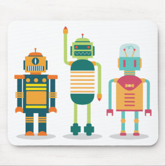 Wellcoda Cartoon Robot Party Kid Fun Life Mouse Pad