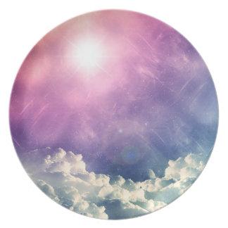 Wellcoda Cloud Sky Hexagon Love Shape Fun Melamine Plate