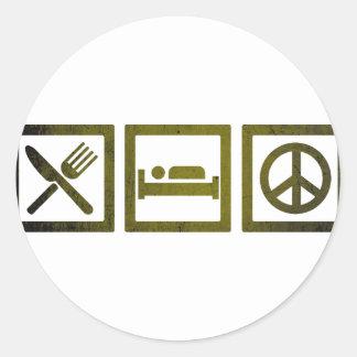 Wellcoda come sueño se ríe el símbolo de paz pegatina redonda
