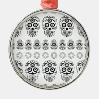 Wellcoda Crazy Epic Skull Print Small Face Metal Ornament