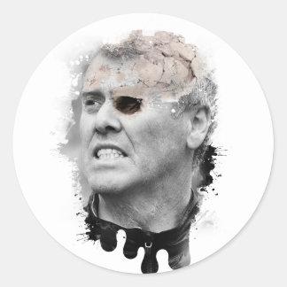 Wellcoda Crazy Skeleton Head Zombie Man Classic Round Sticker