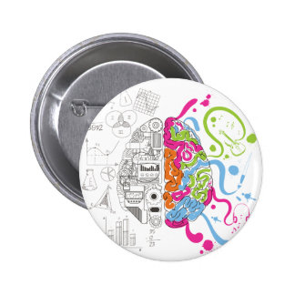 Wellcoda Creative Brain Mind Master Side Pinback Button