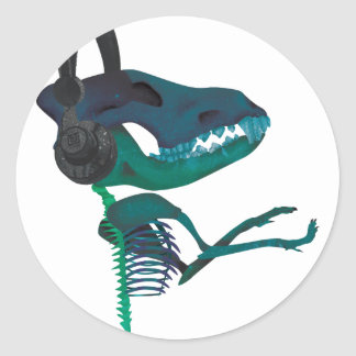 Wellcoda Dinosaur Headphone Music Lover Classic Round Sticker