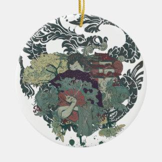Wellcoda Dragon Japan Geisha Oriental Ceramic Ornament