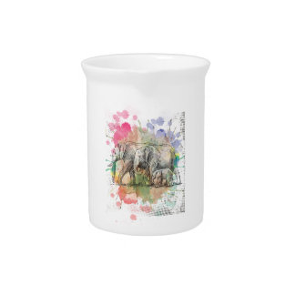 Wellcoda Elephant Family Walk Zoo Animal Beverage Pitcher
