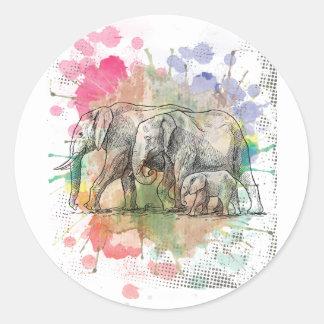 Wellcoda Elephant Family Walk Zoo Animal Classic Round Sticker