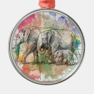 Wellcoda Elephant Family Walk Zoo Animal Metal Ornament