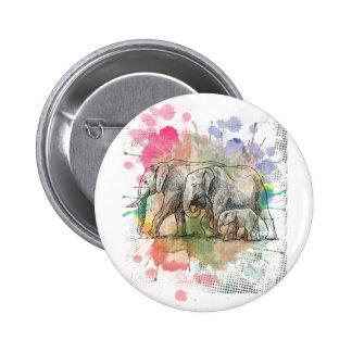 Wellcoda Elephant Family Walk Zoo Animal Pinback Button
