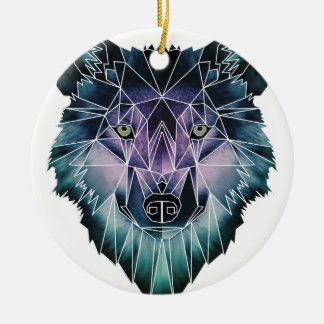 Wellcoda Epic Summer Wolf Face Nature Fun Ceramic Ornament