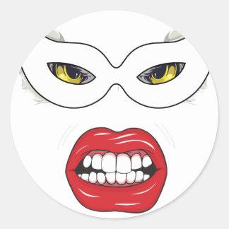 Wellcoda Eye Mask Domino Freak Fake Face Classic Round Sticker