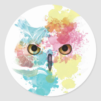 Wellcoda Fantasy Animal Owl Beautiful Eye Classic Round Sticker