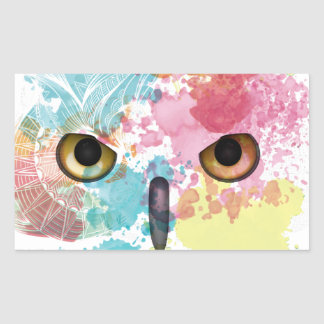 Wellcoda Fantasy Animal Owl Beautiful Eye Rectangular Sticker